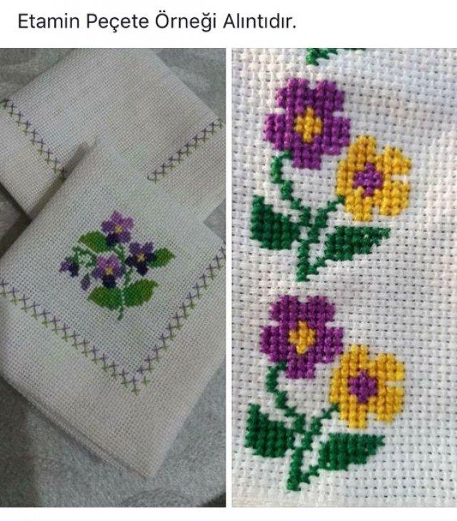 Kolay Etamin Çiçek Örnekleri Kanaviçe Çiçek Modelleri 2019 - 26 #stitchdisney
