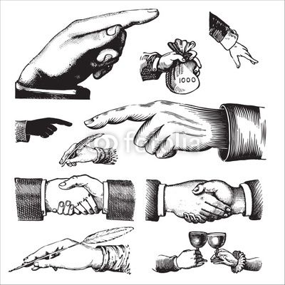 set of antique hands engravings (vector)