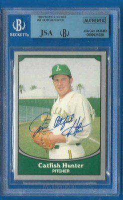 Jim Catfish Hunter Signed 1990 Pacific Hof Jsa Bgs Yankees As