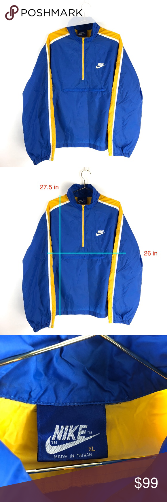 7f03c0e6bf Vintage 80s Nike Windbreaker Blue Tag Jacket XL In beautiful condition for  its age. no stains or holes Blue Tag Nike Features a zip up kangaroo pouch  Nike ...