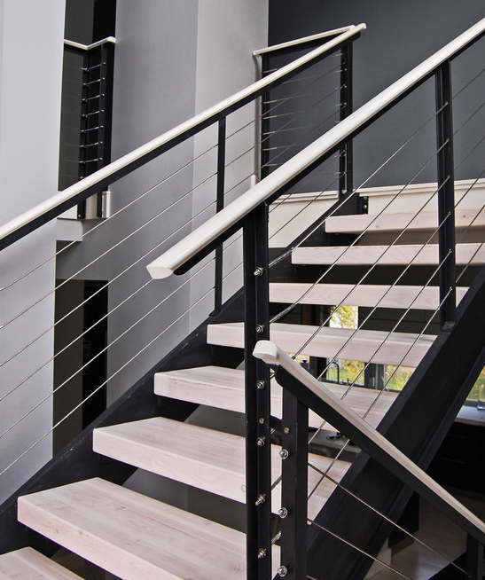 Extensive Modern Staircase With Cable Railing By Stainless Cable | Modern Cable Stair Railing | Stainless Steel Stair | Railing Systems | Glass Railing | Entry Foyer | Staircase Remodel