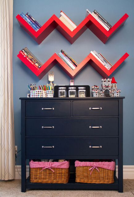 love that dresser for the bedroom- and maybe a softer color for the chevron bookshelf.