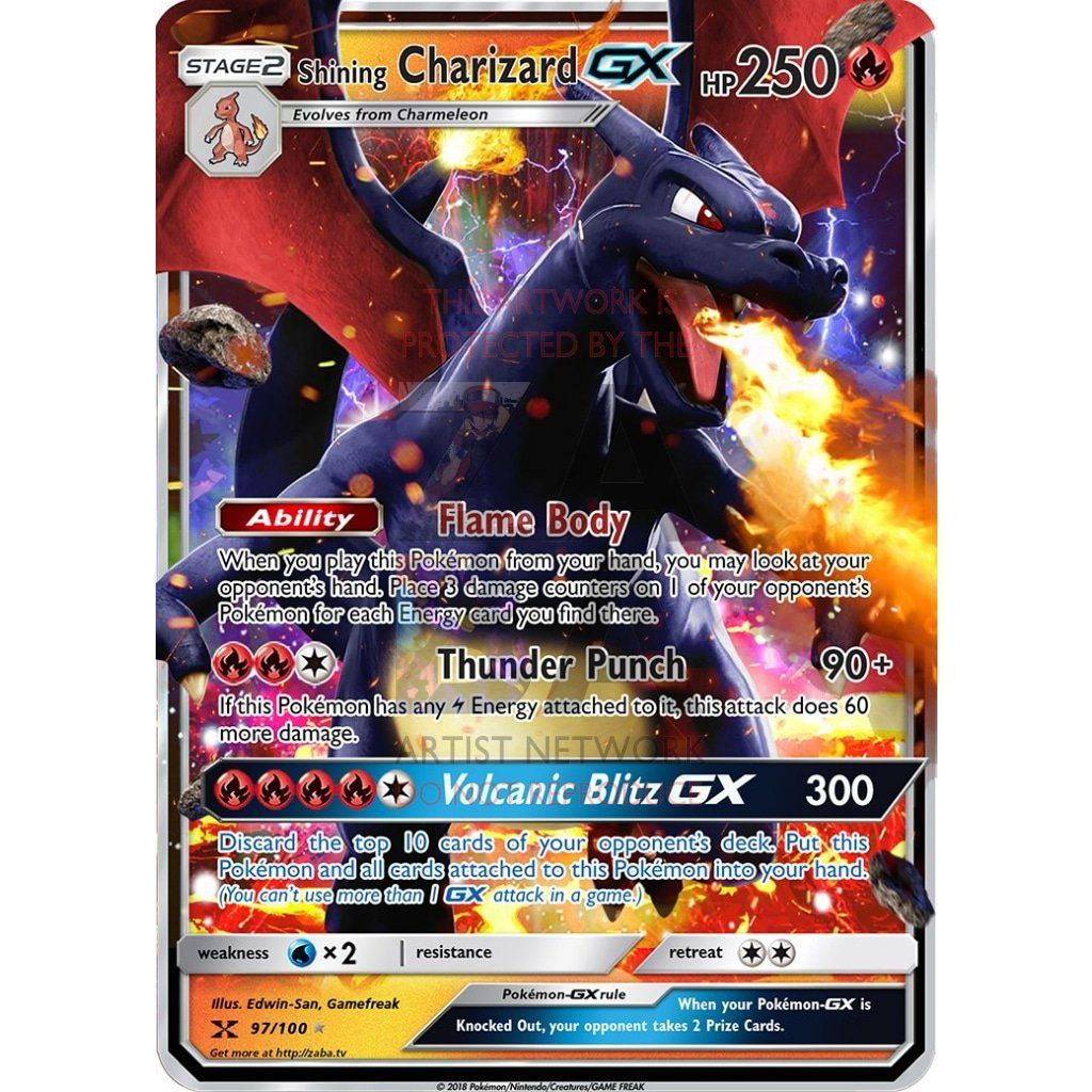 Shining Charizard Gx Custom Pokemon Card Pokemon Pokemon Cards Charizard
