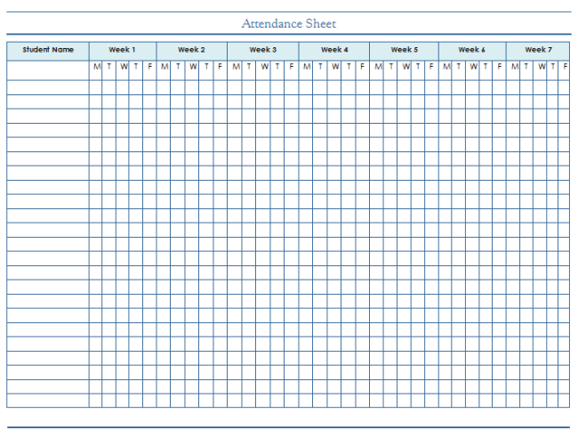 attendance sheet template for companies and employees students