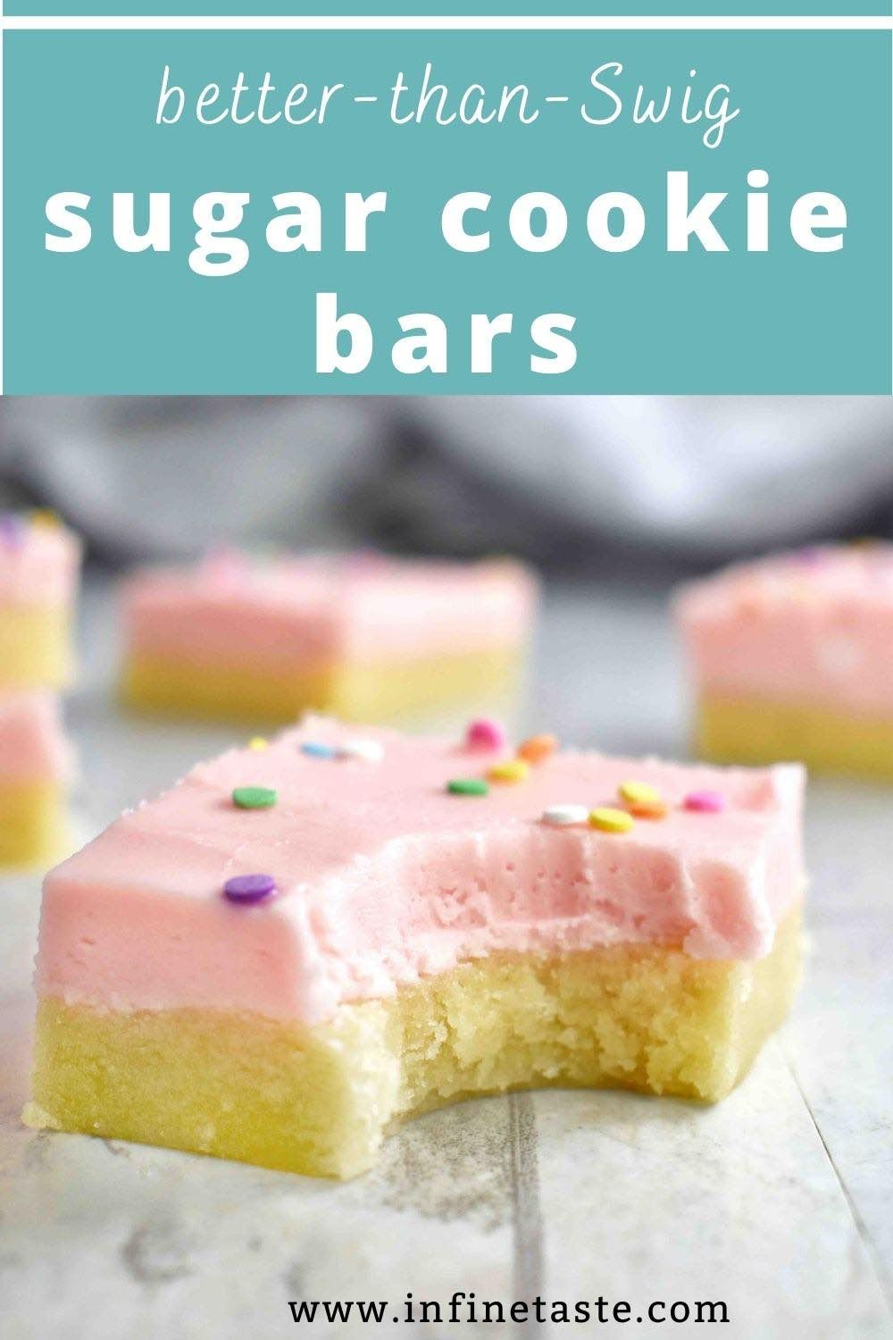 These Swig style sugar cookie bars are super soft, sugar cookie bars are frosted with buttery almond buttercream frosting! They're super easy and better than Swig Sugar Cookies any day! #ChristmasCookies #ChristmasCookiesRecipes #CookiesRecipesChristmas #EasyChristmasCookies #SugarCookies #EasySugarCookies #SugarCookieRecipes #SugarCookieRecipeEasy #AlmondCookie #FrostedSugarCookie #BestSugarCookieRecipes #SoftSugarCookies #EasyCookieRecipes