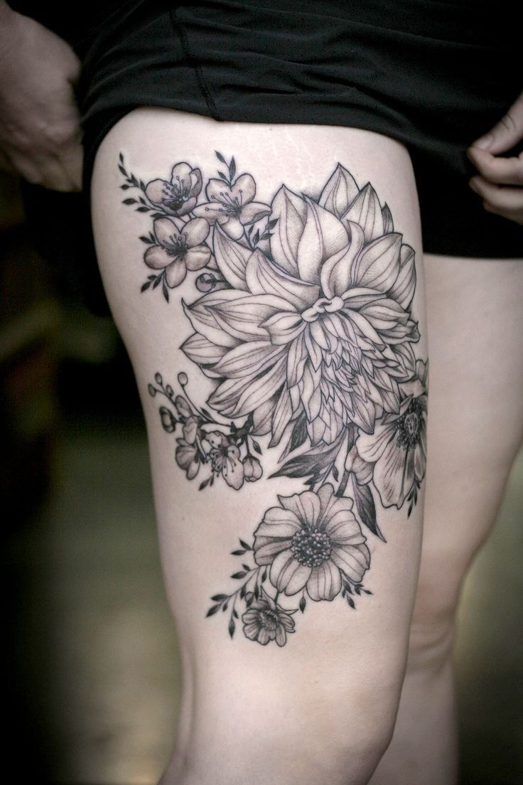 Black lines dahlias and garden flowers tattoo on hip by
