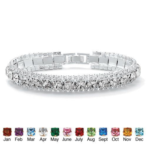 """Round Simulated Birthstone Crystal Accent Silvertone Metal Tennis Bracelet 7""""- April- Simulated Diamond Palm Beach Jewelry. $29.99. Save 36% Off!"""