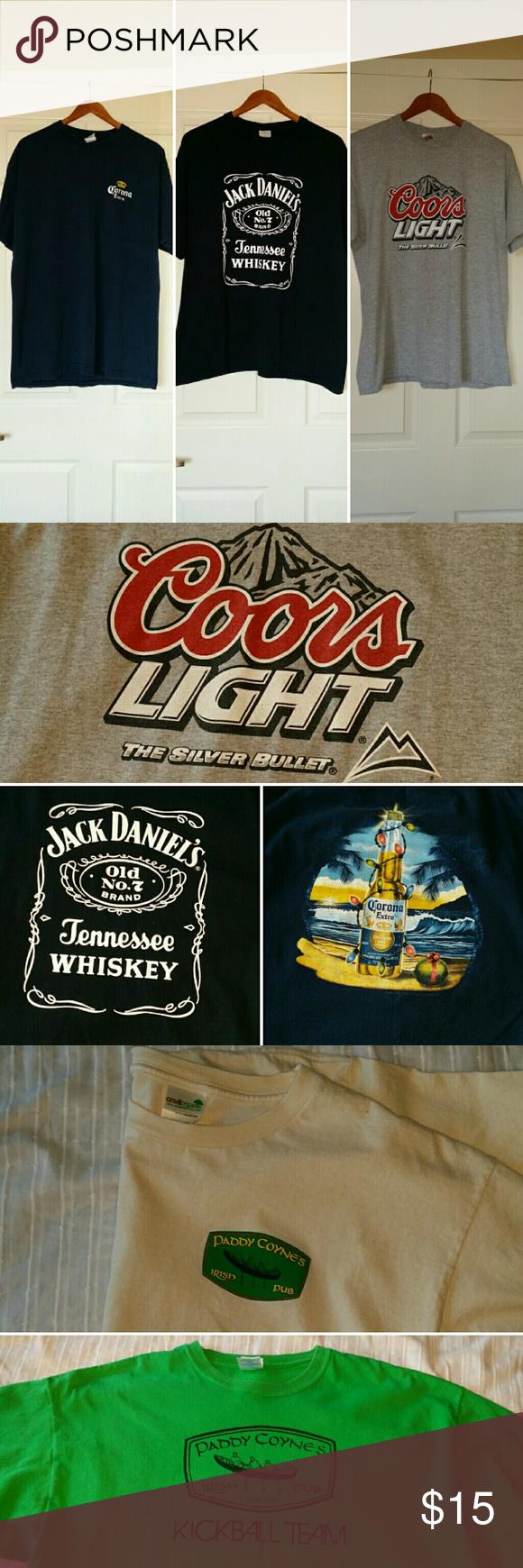 5 Tee Bundle Corona (navy blue) Coors Lt (light gray) Jack Daniels (black) 2 Paddy Coyne's Irish Pub t-shirts (cream & bright green)  All XL & cotton, great condition! Shirts Tees - Short Sleeve