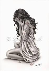 Image Result For Girl Kneeling Drawing Desenhos Tristes Garota