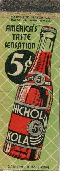 Matchcover Art Nichol Kola Matchbook Art Matchbox Art Vintage Posters