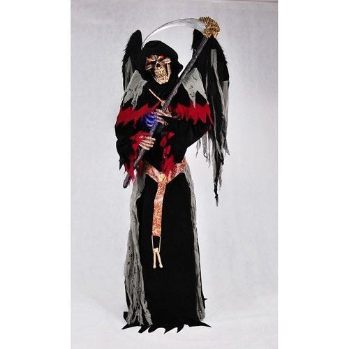 Animated Halloween Props Life Size Evil Winged Reaper Motion Sensor - animated halloween decorations