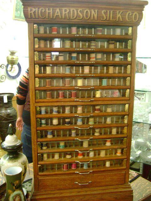 antique oak RICHARDSON SILK CO. thread cabinet. The Richardson Co. gave  away Arts - Antique Oak RICHARDSON SILK CO. Thread Cabinet. The Richardson Co