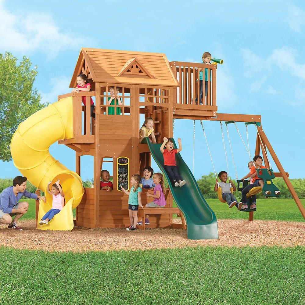 bayfield retreat wood gymset big backyard toys