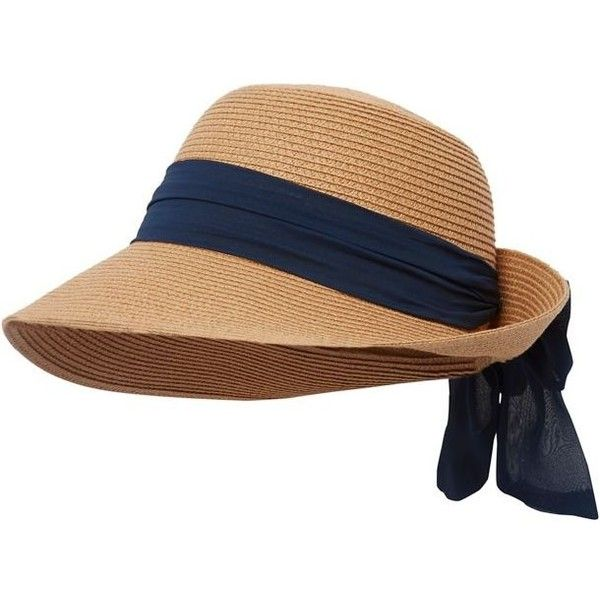 d0b7e9e594e Beach Collection Natural straw bow hat ( 25) ❤ liked on Polyvore featuring  accessories