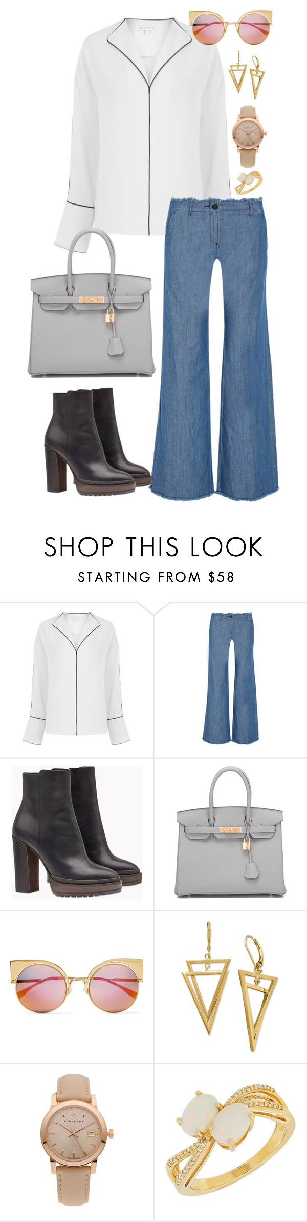"""""""Wide Pants"""" by acacia97 ❤ liked on Polyvore featuring MICHAEL Michael Kors, Brunello Cucinelli, Hermès, Fendi, Burberry and Lord & Taylor"""