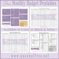 free budget forms to print