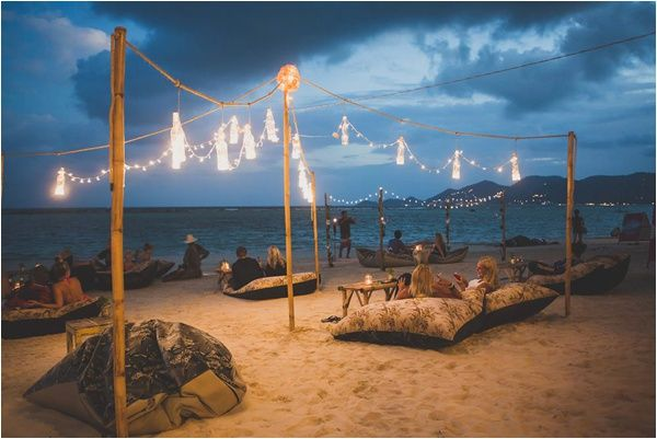 Mini Bar Night Time Lighting Private Set Up On The Beach For