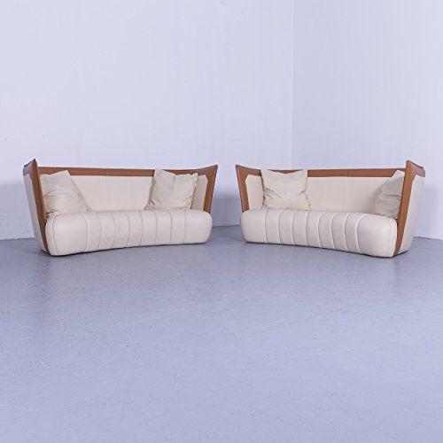 De Sede DS 146 Designer Leder Sofa Garnitur Creme Beige Braun Dreisitzer  Couch Echtleder #5769