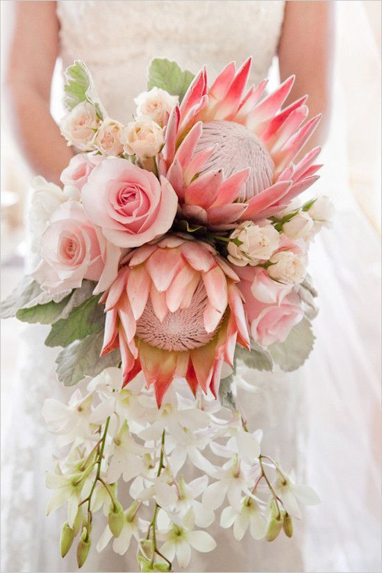 Pink King Protea Wedding Bouquet // boho, soho, roses, orchids, peach, coral, white, dusty miller,