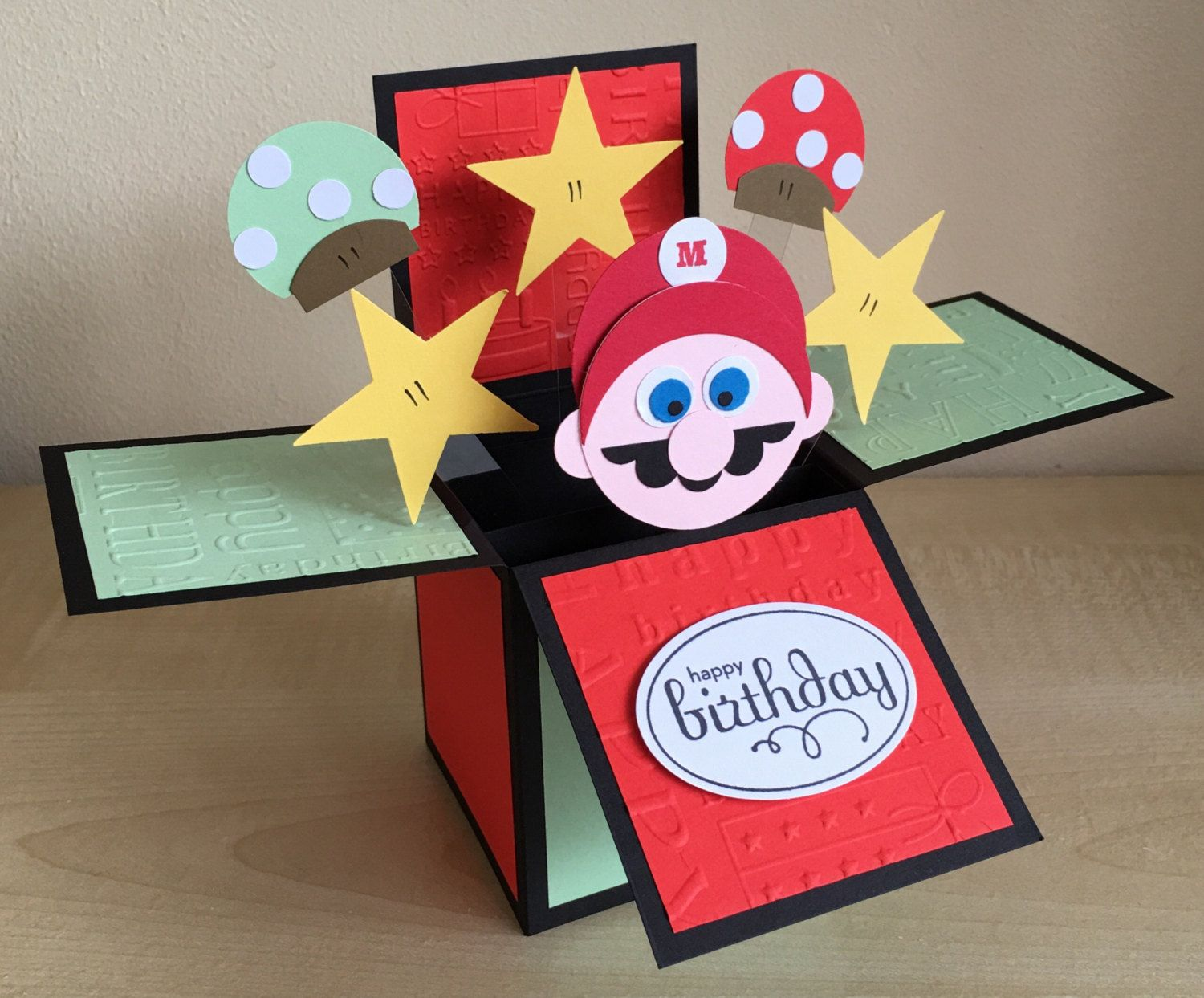 Handmade Card In A Box Unique Super Mario Theme Birthday With