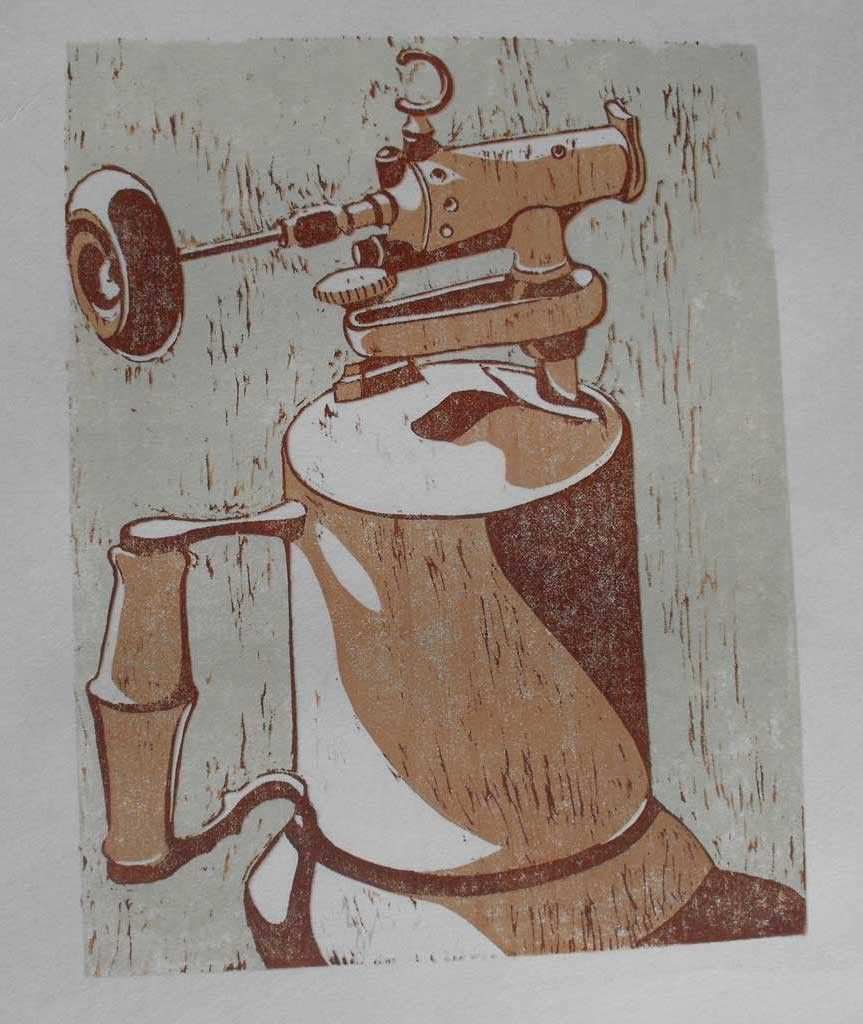 Quot vintage torch linocut by m briana http etsy