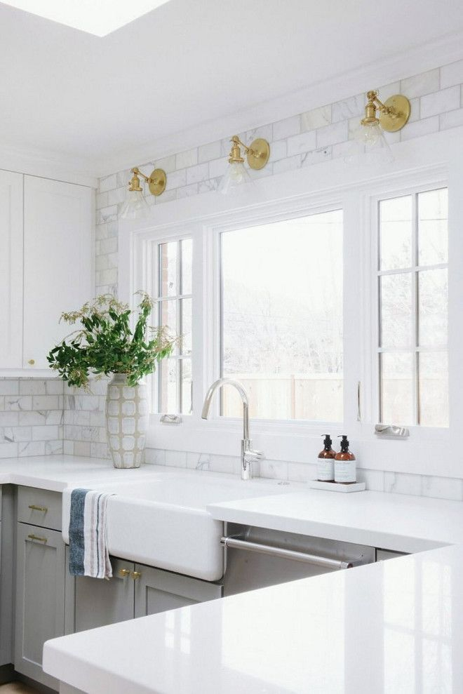 Kitchen Countertop And Backsplash My Favorite Detail In This Is The Solid White Quartz Paired With Calcutta Marble That