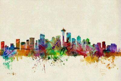 Trademark Fine Art Seattle Washington Canvas Art By Michael Tompsett Walmart Com Seattle Washington Skyline Skyline Art Canvas Art