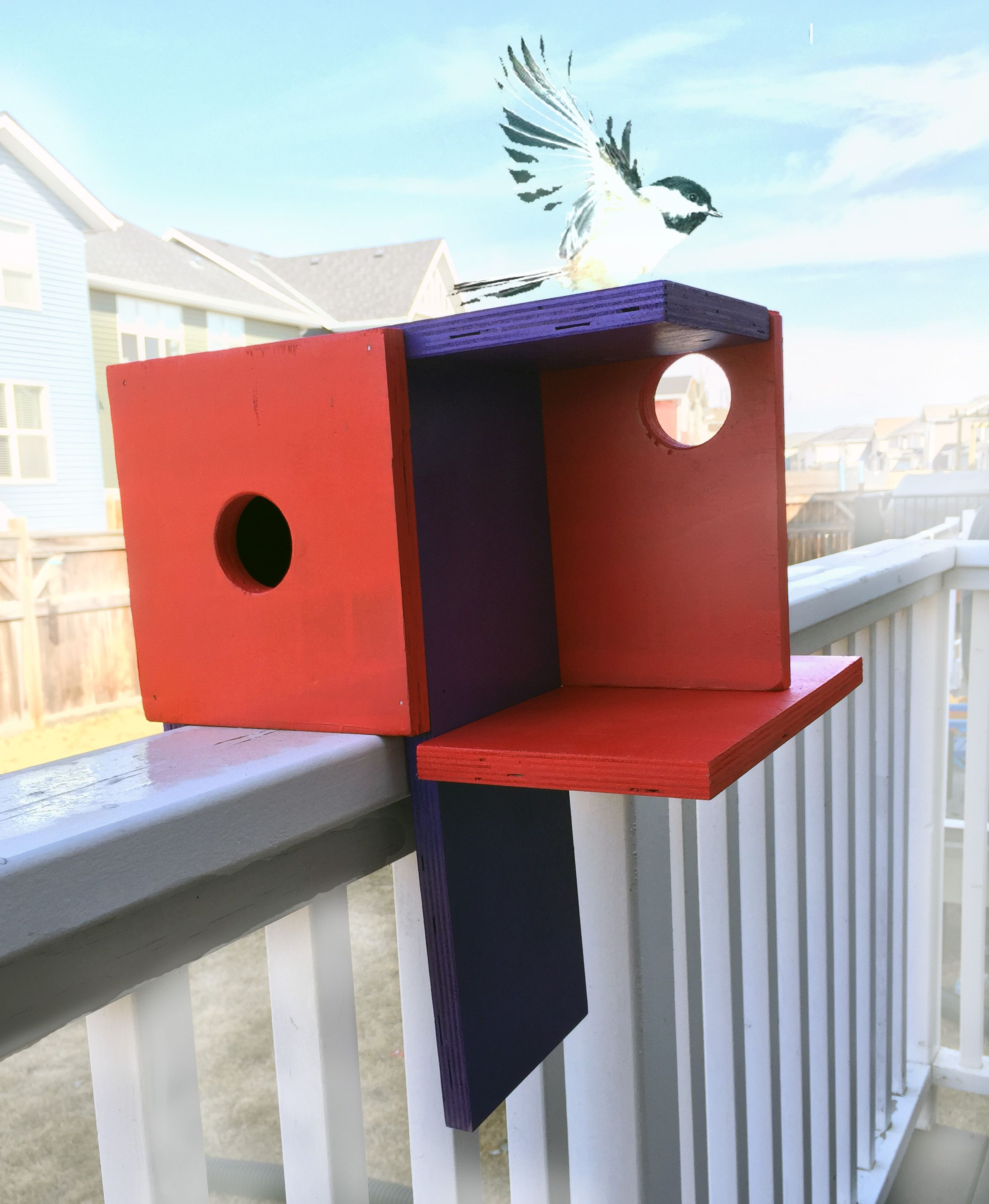 Mondrian Inspired Right Angle Modern Birdhouse Architecture