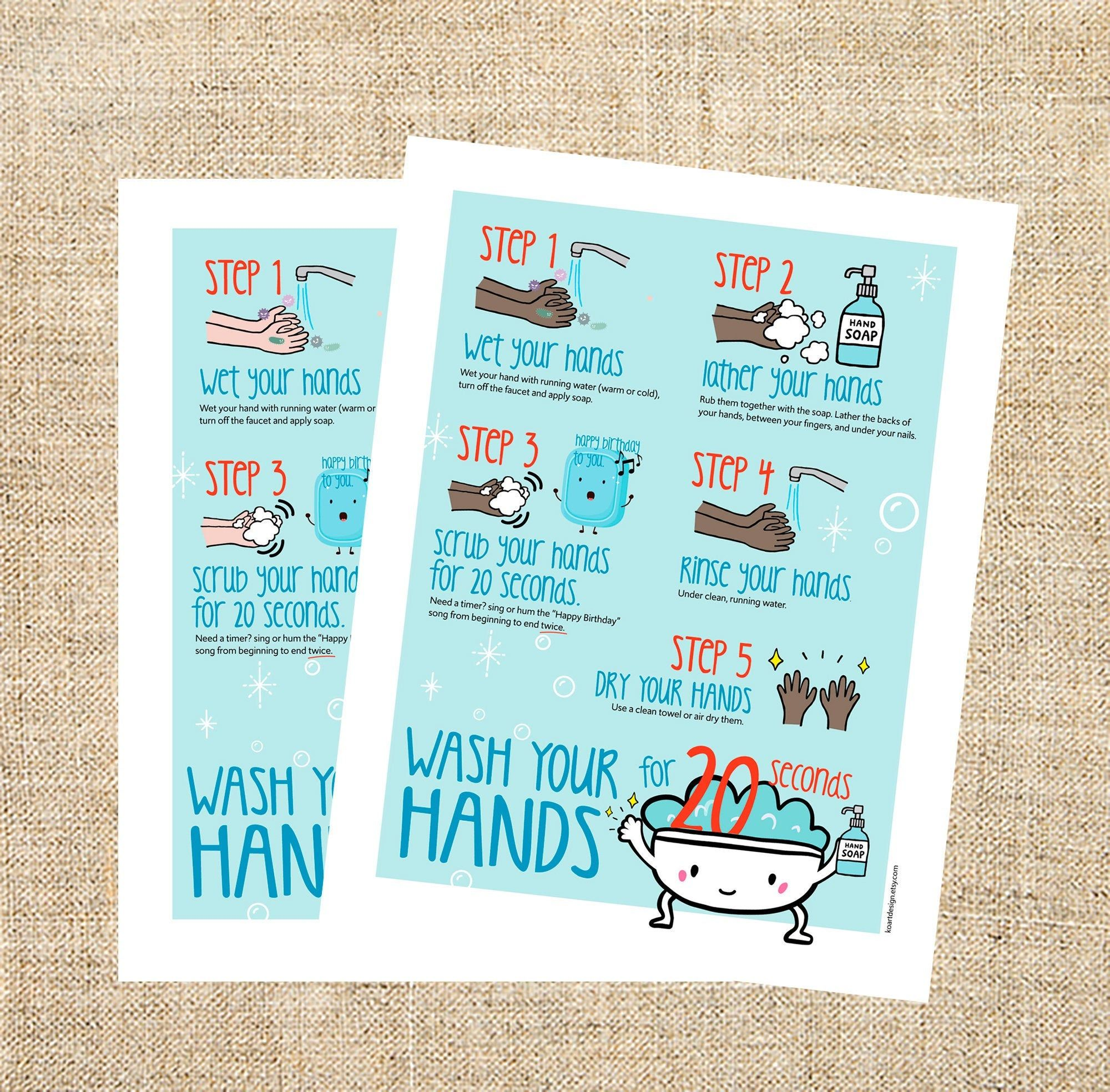 Hand Washing Chart For Kids How To Wash Hands Printable