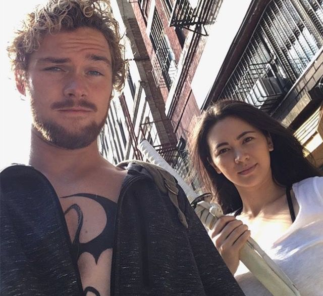 iron fist finn jones and jessica henwick photo via finn 39 s instagram defenders marvel. Black Bedroom Furniture Sets. Home Design Ideas