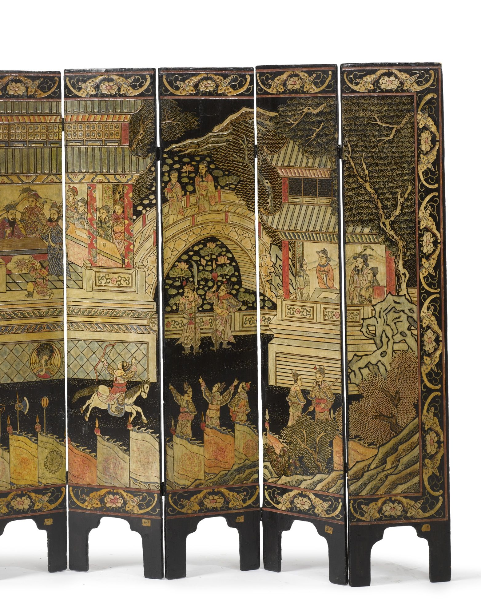 Muebles Orientales Antiguos A Small Chinese Polychrome And Black Lacquer Eight Panel