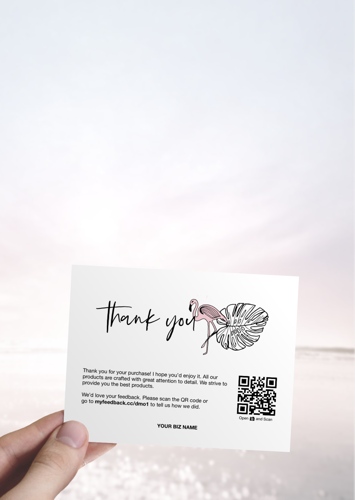 Business Thank You Printable Thank You For Your Purchase Card Thank You For Your Business Packaging Insert Flamingo And Palm Leaf Design Kreatif Kemasan