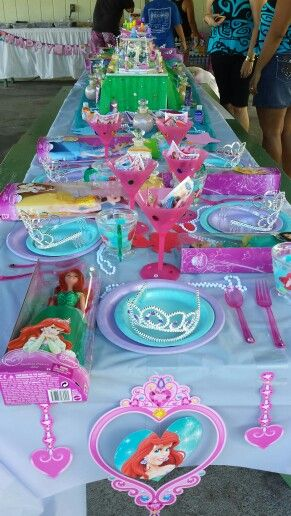 Little Mermaid party..table set up for all the princesses ...