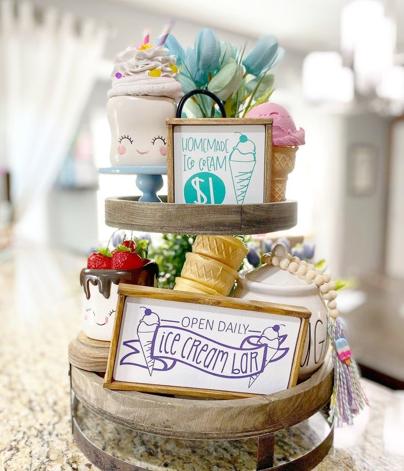 Ice cream sundae tiered tray set Mix and match items, summer farmhouse tiered tray mini signs, paste