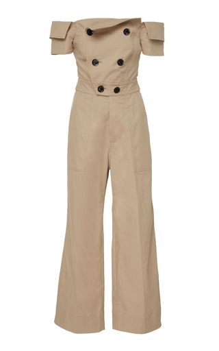 d802aaff235 Marissa Webb s cotton Rylan canvas jumpsuit features a buttoned up bodice  with an off the shoulder neckline and a cropped leg.