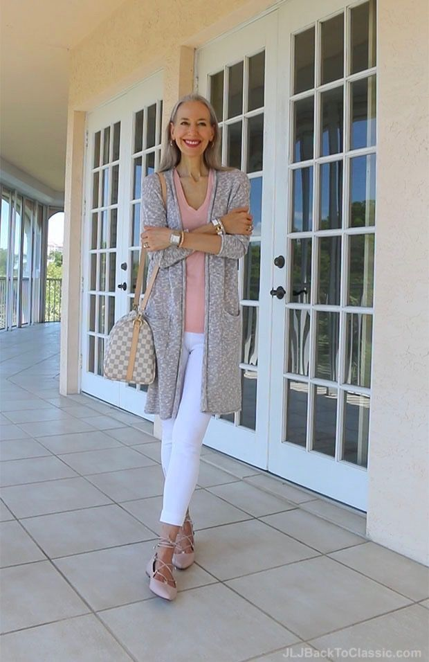 Video Chat Ootd Classic Fashion Over 40 50 Grey Long Cardigan