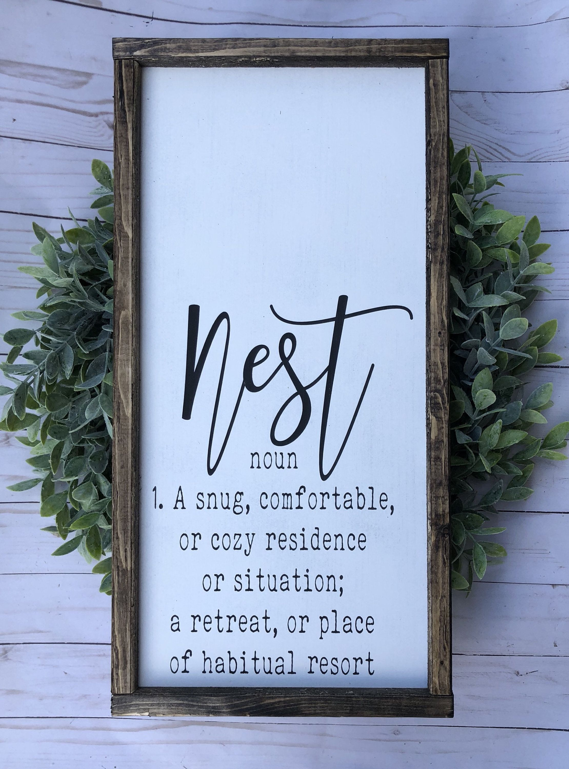 Signs With Quotes Farmhouse Decor Signs For Home Wall Decor Framed Wood Signs Farmhouse Sign Living Room Decor Nest Sign Wood Frame Sign Frame Wall Decor Wood Signs