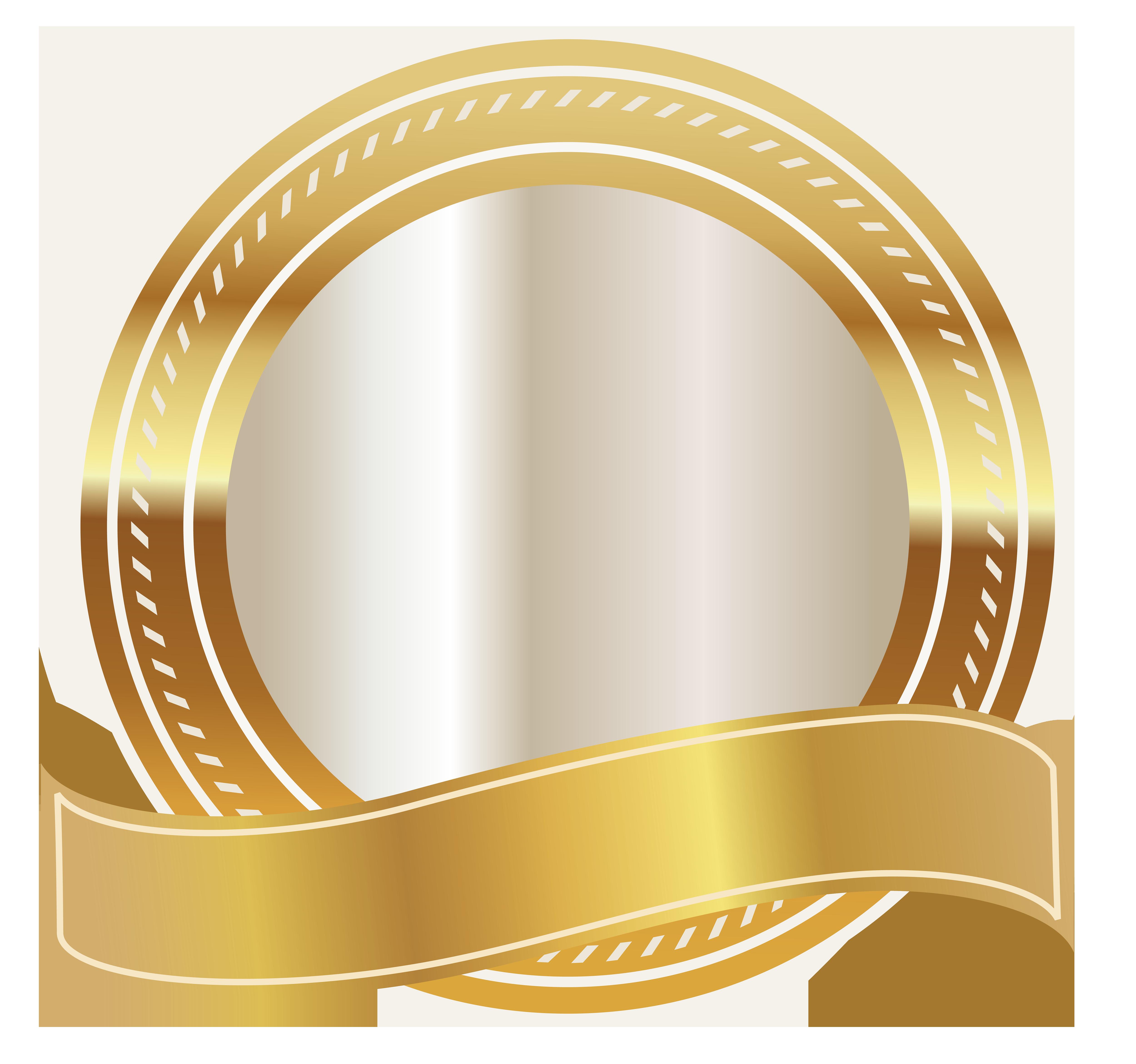 Gold Seal with Gold Ribbon PNG Clipart Image Molduras