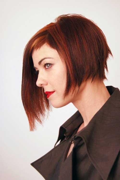 15 best french bob hairstyles 6 red colored asymmetrical french
