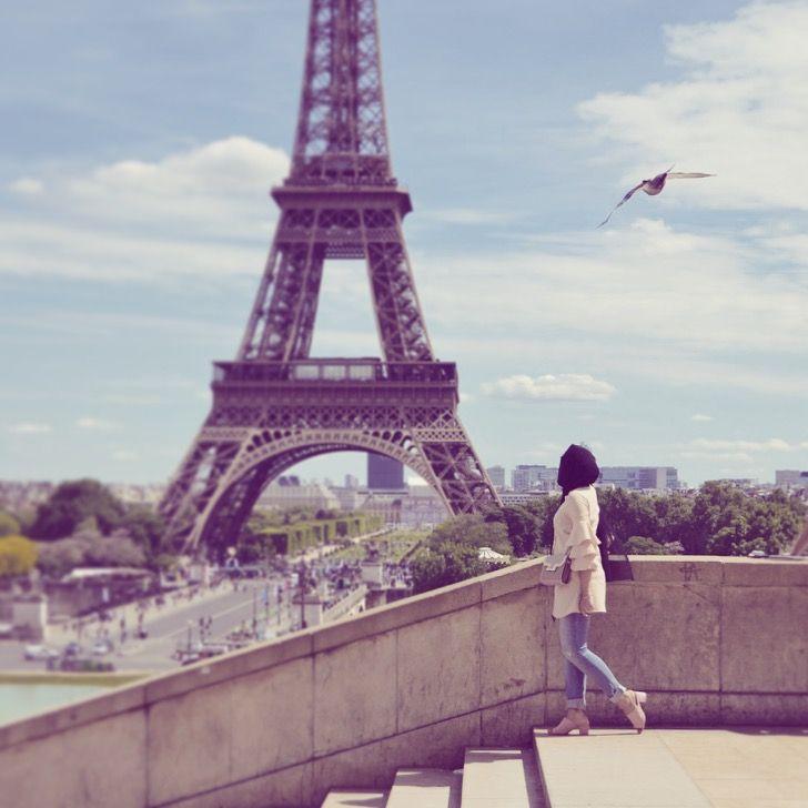 With Love From Paris Xo Hijab Fashion Eiffel Tower Photography Girls Dp Stylish