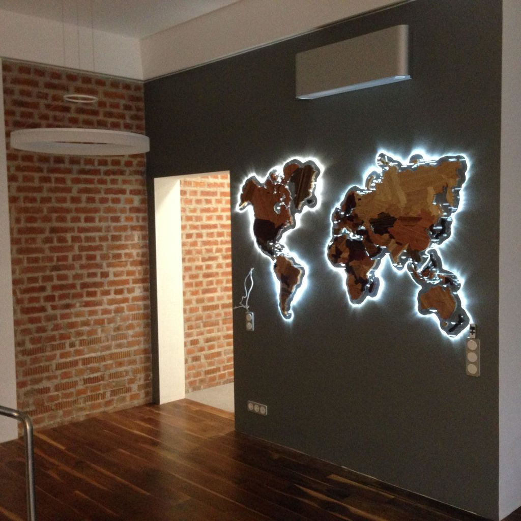 Photo of Wooden World Map.