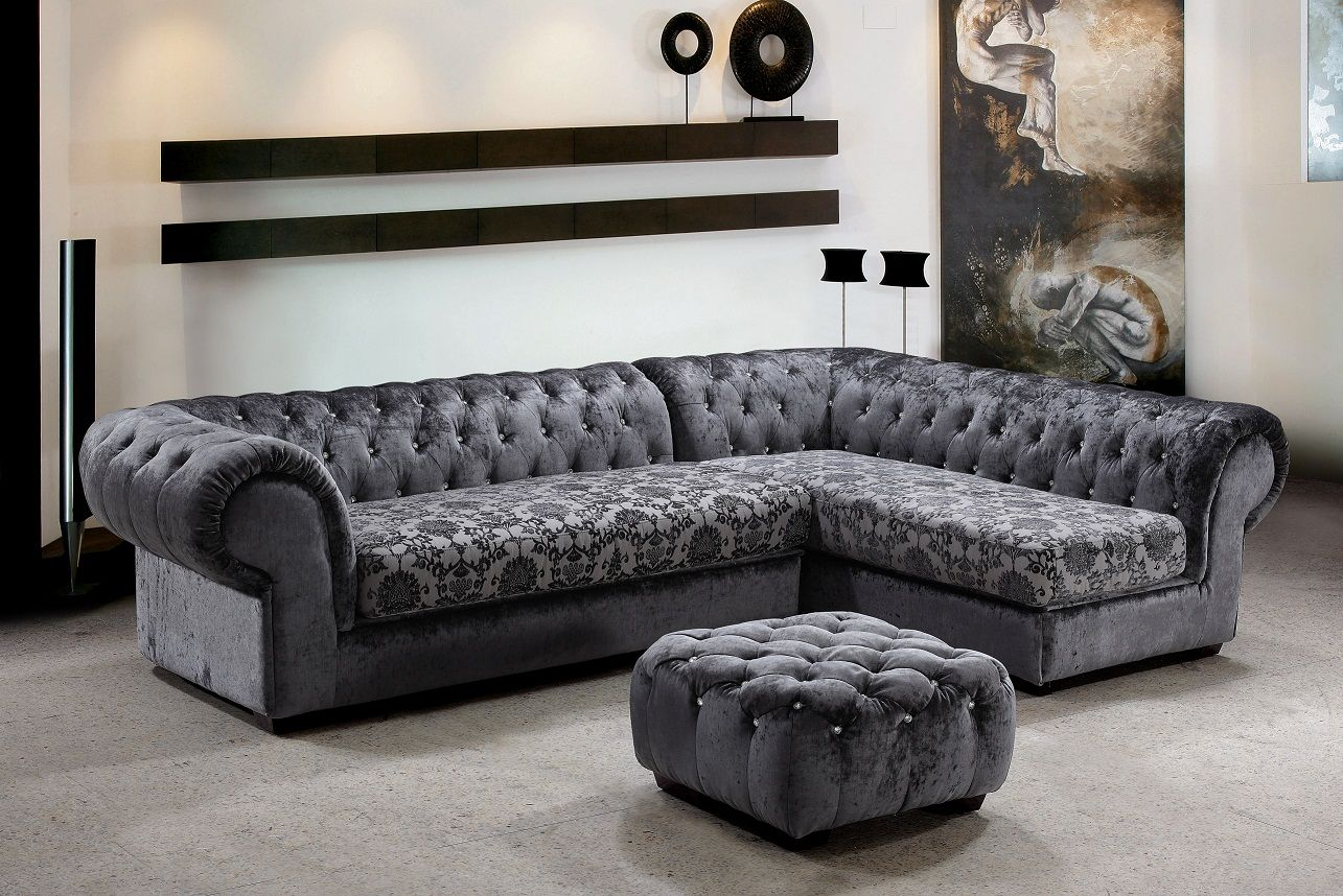 Leather Sofas Metropolitan Piece Fabric Sectional Sofa u Ottoman with Crystals Traditional Elegance in One Set