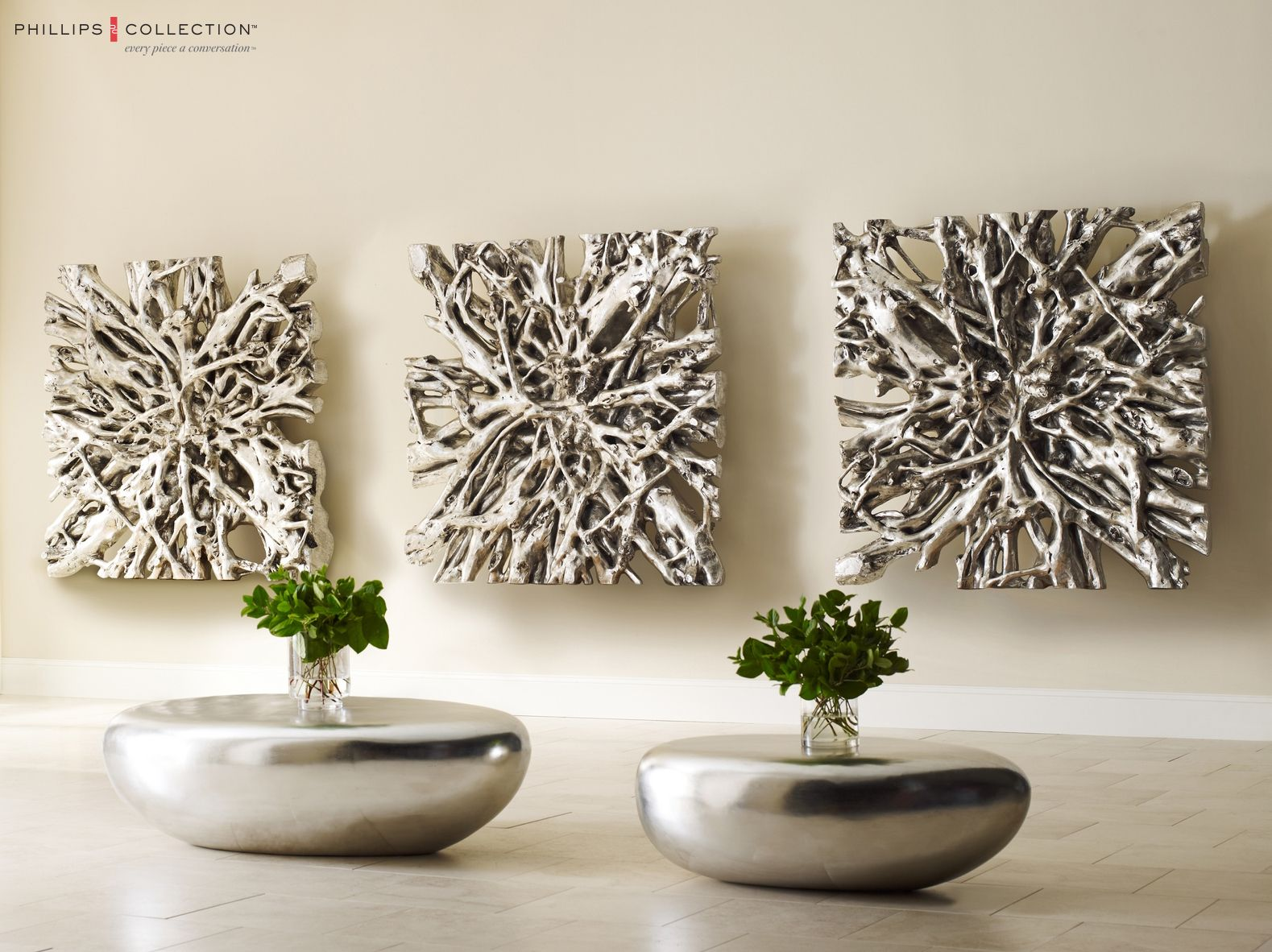 silver work silver metal lychee tree modern wall art contemporary