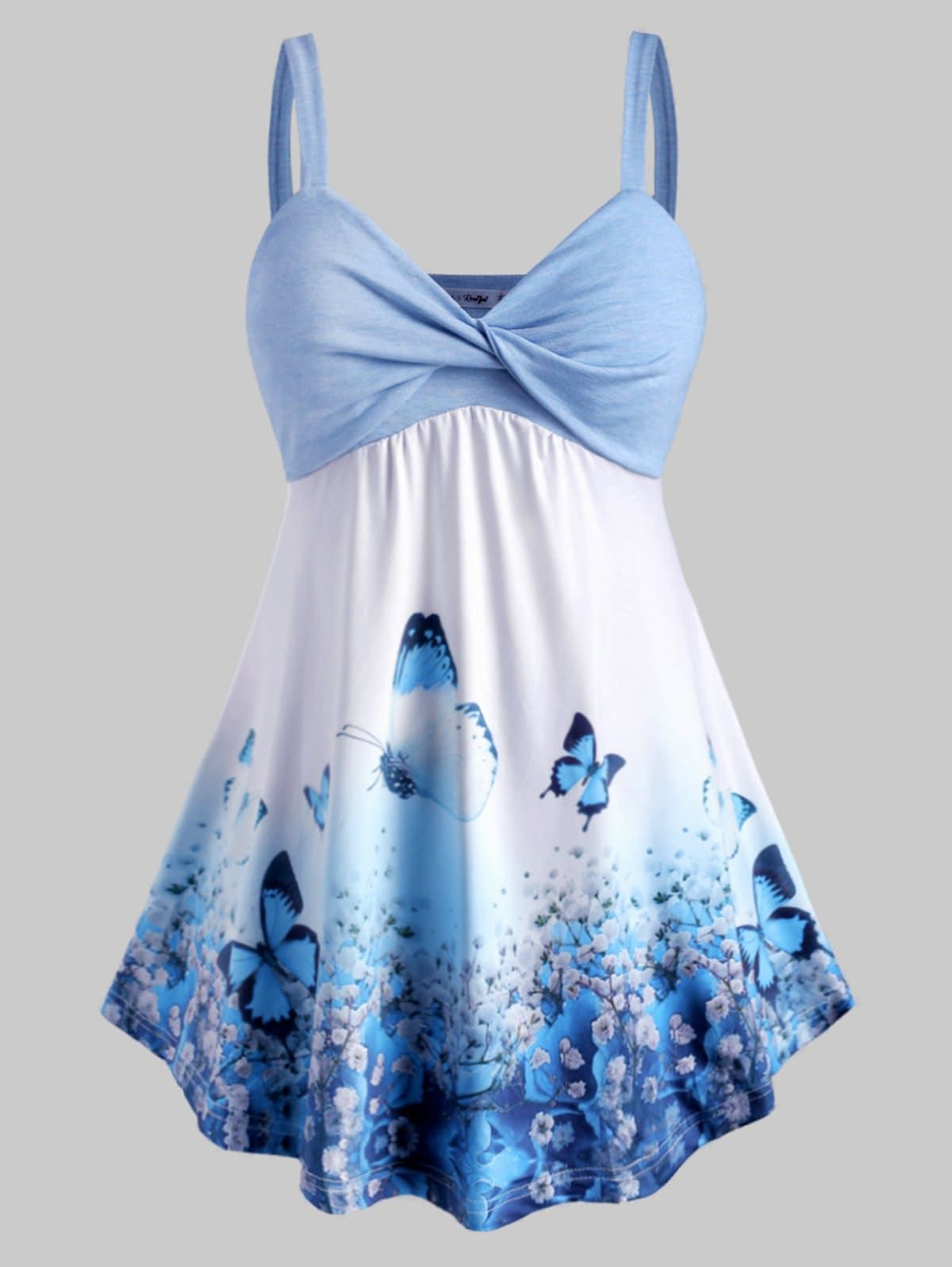 Plus Size Butterfly Print Front Twist Tank Top In 2020 Plus Size Tank Tops Summer Dresses For Women Summer Dress Outfits [ 1596 x 1200 Pixel ]