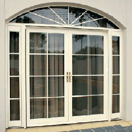 Source arch aluminum side hung door double glazing with for Double hung exterior french doors