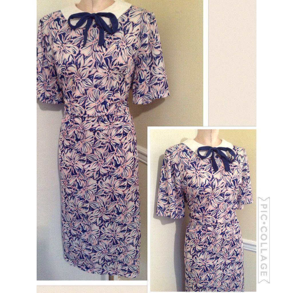 Vintage 1980s Tie bow dress best fit 10/12