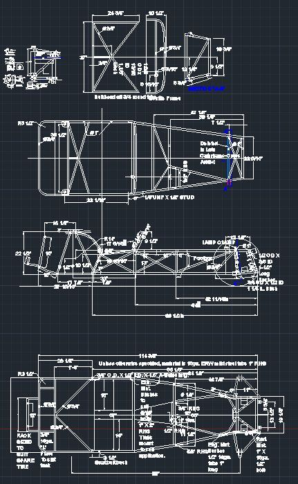 Lotus Super 7 Series 2 Chassis Frame DWG CAD | Race Car Blueprints ...