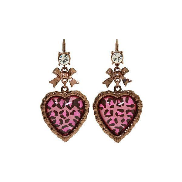 Betsey Johnson - Jungle Book Leopard Earrings (Pink Multi) - Jewelry ($36) ❤ liked on Polyvore featuring jewelry, earrings, accessories, gioielli, random, women's jewelry, leopard jewelry, rose gold tone earrings, heart shaped earrings and acrylic earrings