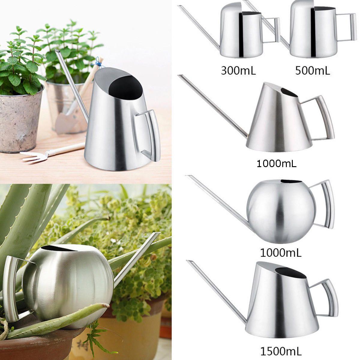 Small Stainless Steel Watering Can Indoor Outdoor Garden Plants Flowers