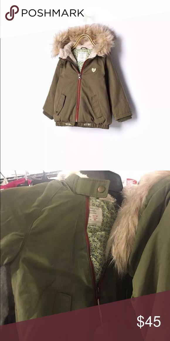 5d96de016654 Zara girls olive green parka coat Zara baby girls olive green Parka ...